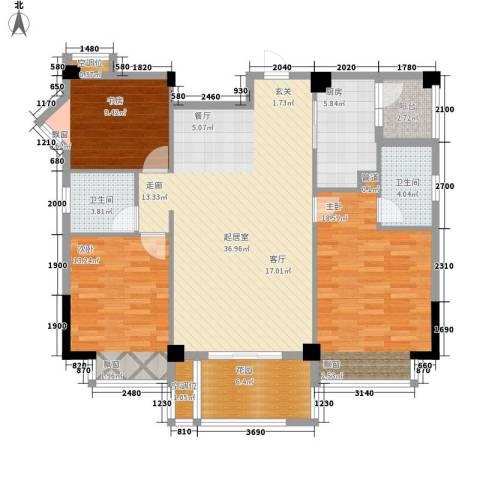 美丽南庭3室0厅2卫1厨119.00㎡户型图