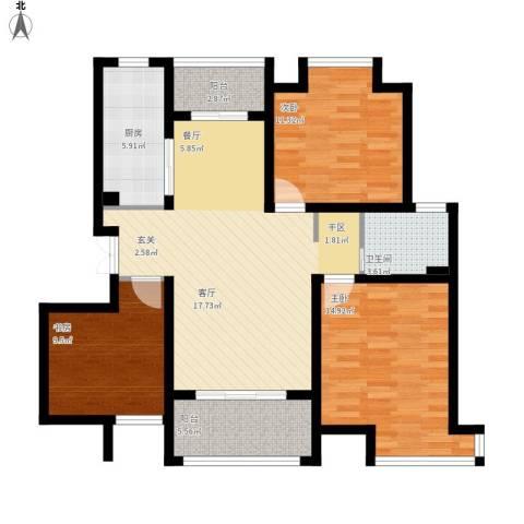 汇智湖畔家园3室1厅1卫1厨119.00㎡户型图