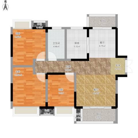 光谷新世界3室1厅1卫1厨108.00㎡户型图