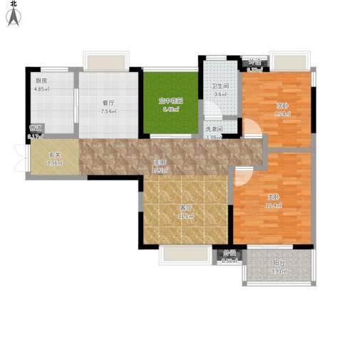 光谷新世界2室1厅1卫1厨110.00㎡户型图