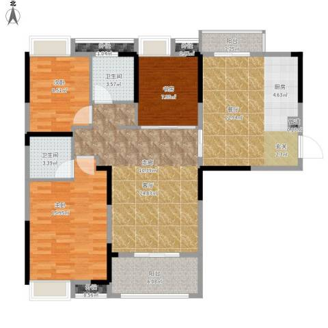 王家湾中央生活区3室2厅2卫0厨133.00㎡户型图
