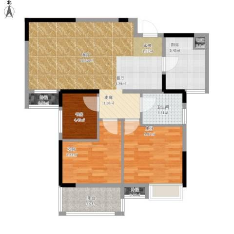 王家湾中央生活区3室1厅1卫1厨92.00㎡户型图