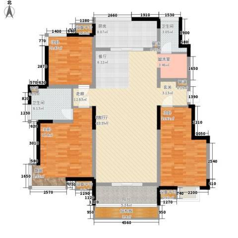 卓达三溪塘3室1厅2卫1厨147.00㎡户型图