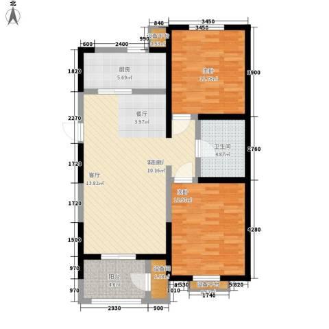 卓达三溪塘2室1厅1卫1厨70.12㎡户型图