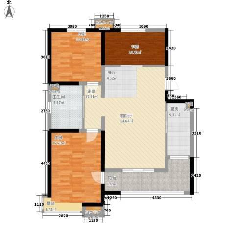 卓达三溪塘3室1厅1卫1厨118.00㎡户型图