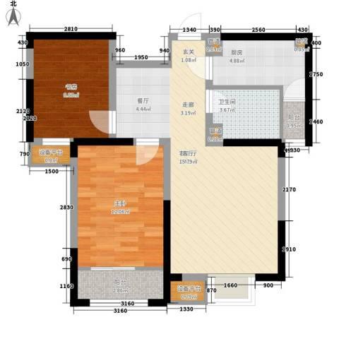 卓达三溪塘2室1厅1卫1厨121.00㎡户型图