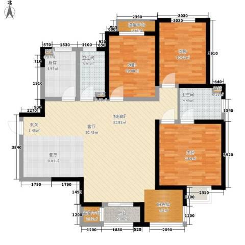 卓达三溪塘3室1厅2卫1厨118.00㎡户型图
