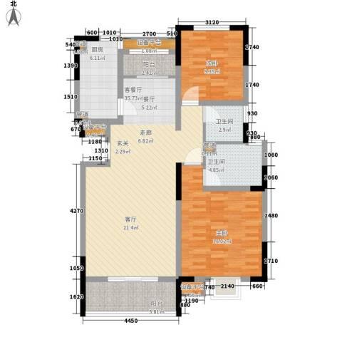 卓达三溪塘2室1厅2卫1厨119.00㎡户型图