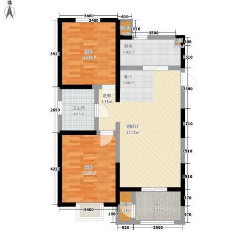 卓达三溪塘2室1厅1卫1厨67.92㎡户型图