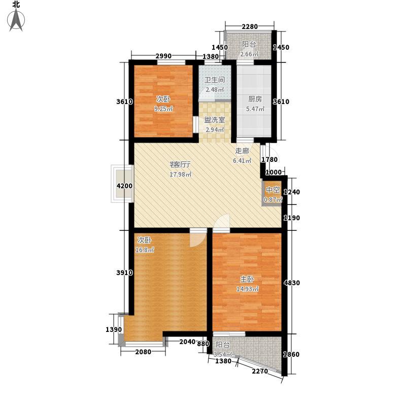 颐华苑15.00㎡一期3#楼C户型3室2厅2卫1厨