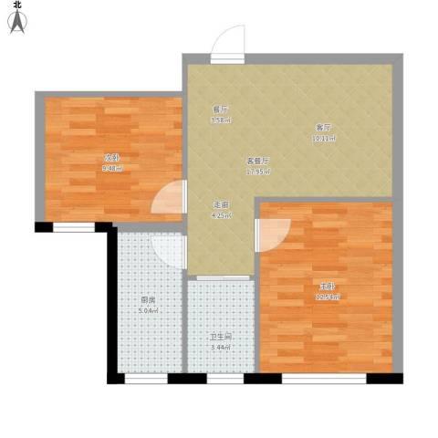 檀香湾2室1厅1卫1厨68.00㎡户型图