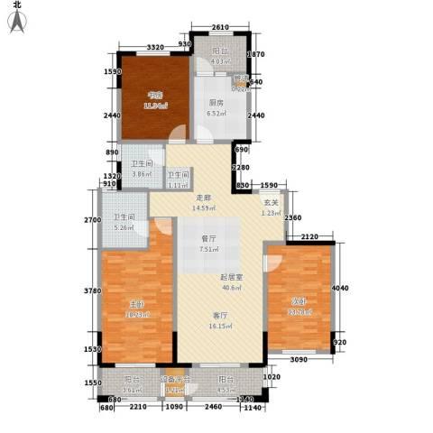 和融优山美地公馆3室0厅2卫1厨128.00㎡户型图