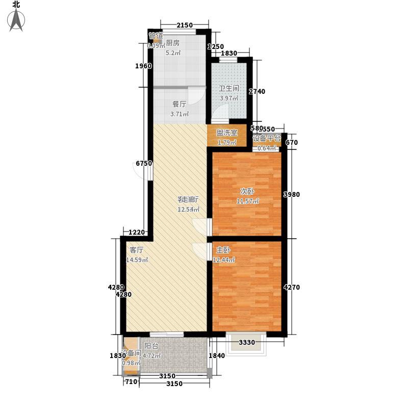 颐华苑6.00㎡一期3#楼C2户型2室2厅1卫1厨