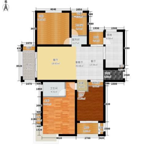 绿地滨湖国际花都3室1厅2卫1厨128.00㎡户型图