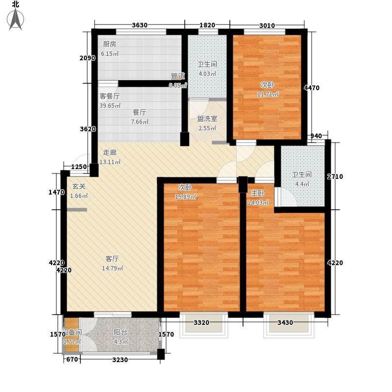 颐华苑122.56㎡一期3#楼A1户型3室2厅2卫1厨