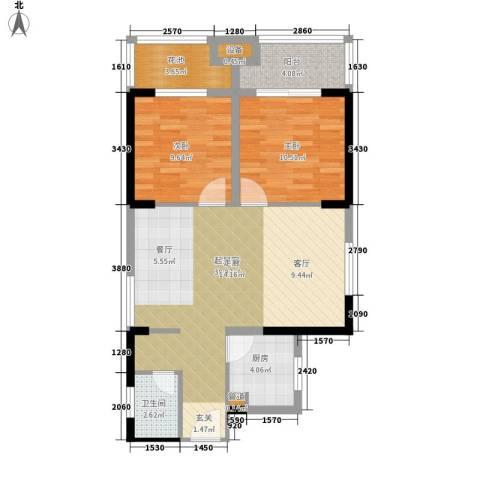 祥瑞东方城2室0厅1卫1厨76.00㎡户型图