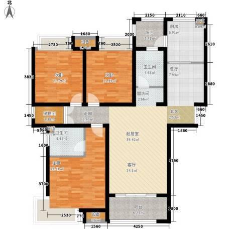 绿地滨湖国际花都3室0厅2卫1厨126.00㎡户型图