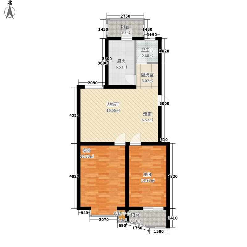 颐华苑78.00㎡一期3#楼G户型2室1厅1卫1厨