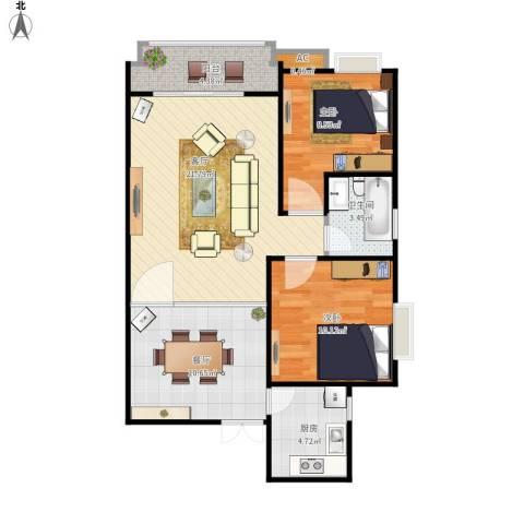东方新城2室2厅1卫1厨87.00㎡户型图