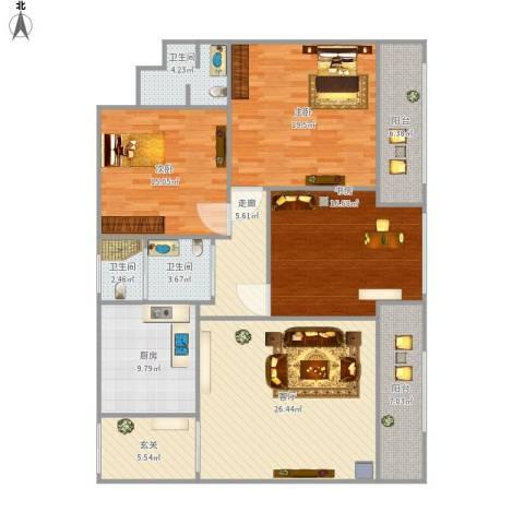 后龙小区3室1厅3卫1厨165.00㎡户型图