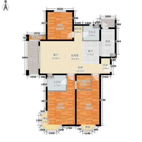 绿地崴廉公寓3室0厅2卫1厨131.15㎡户型图