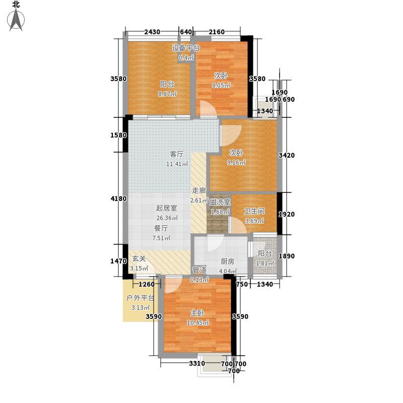 龙光峰景华庭82.92㎡龙光峰景华庭户型图7栋B座2-18层06单元3室2厅1卫1厨户型3室2厅1卫1厨