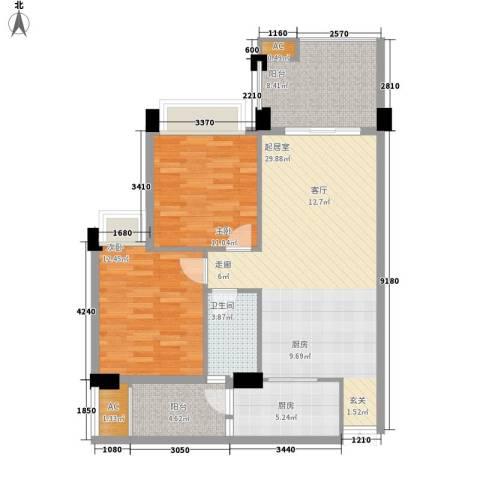汇景・上层2室0厅1卫1厨88.00㎡户型图