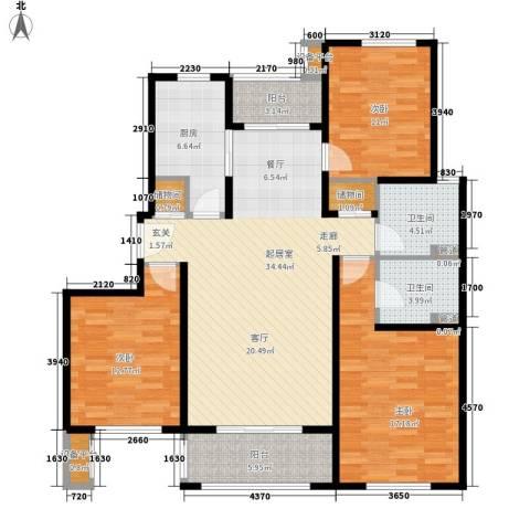 绿地崴廉公寓3室0厅2卫1厨116.59㎡户型图