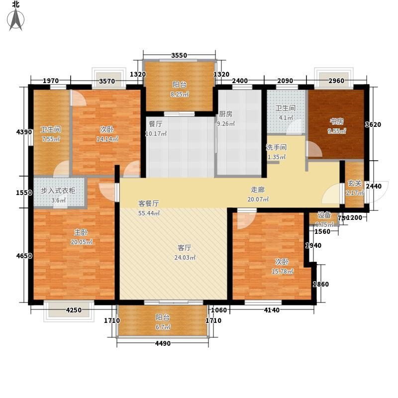 上海香溢花城户型图B户型176㎡4房 4室2厅3卫1厨