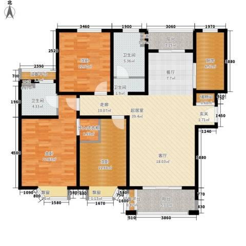 绿地崴廉公寓3室0厅2卫1厨125.67㎡户型图