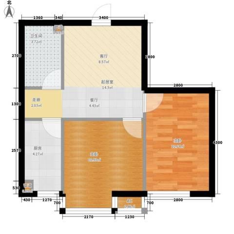 富海澜湾半岛2室0厅1卫1厨64.00㎡户型图