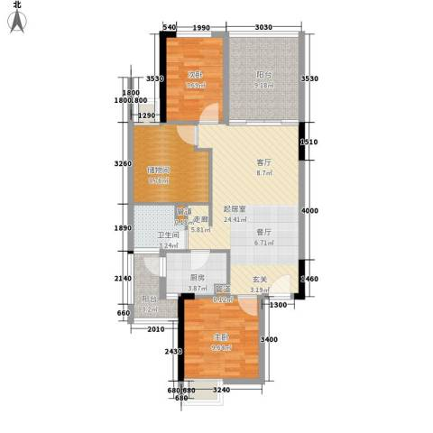 龙光峰景华庭2室0厅1卫1厨85.00㎡户型图