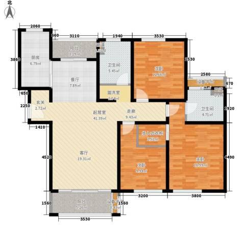 绿地崴廉公寓3室0厅2卫1厨125.96㎡户型图