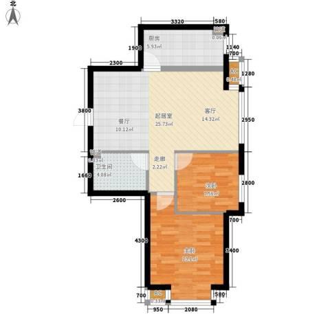富海澜湾半岛2室0厅1卫1厨82.00㎡户型图