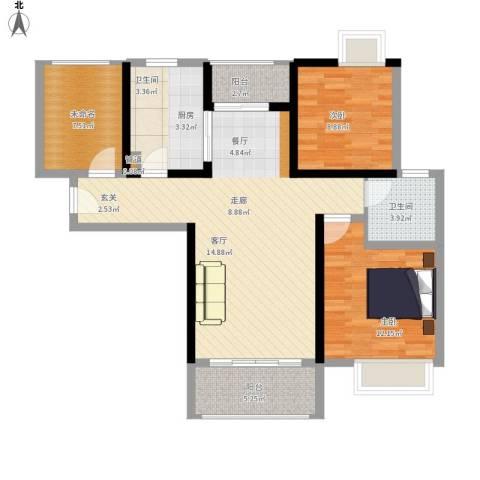 鑫苑世家2室1厅1卫1厨113.00㎡户型图