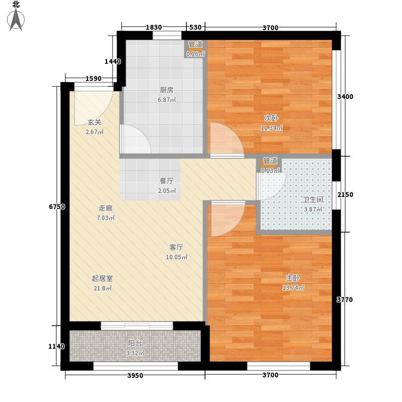 世欧王庄69.60㎡1-2户型2室1厅1卫1厨