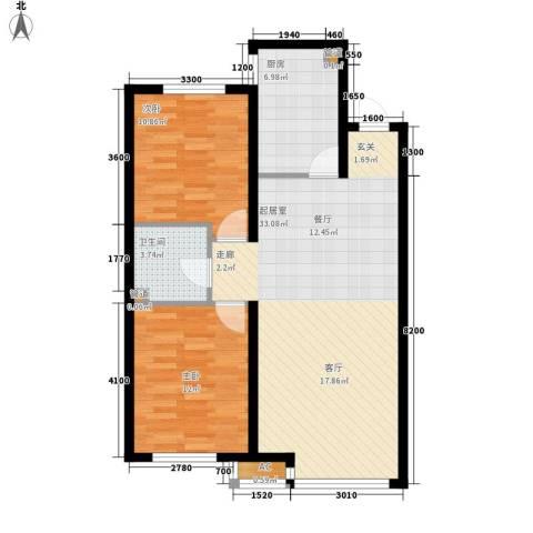 富海澜湾半岛2室0厅1卫1厨96.00㎡户型图