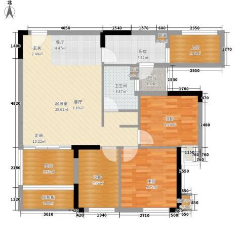 龙光峰景华庭3室0厅1卫1厨91.00㎡户型图