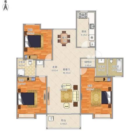 香槟花园3室1厅3卫1厨156.00㎡户型图