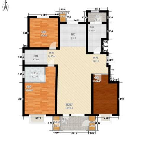 康城・瑞河兰乔3室1厅1卫1厨157.00㎡户型图