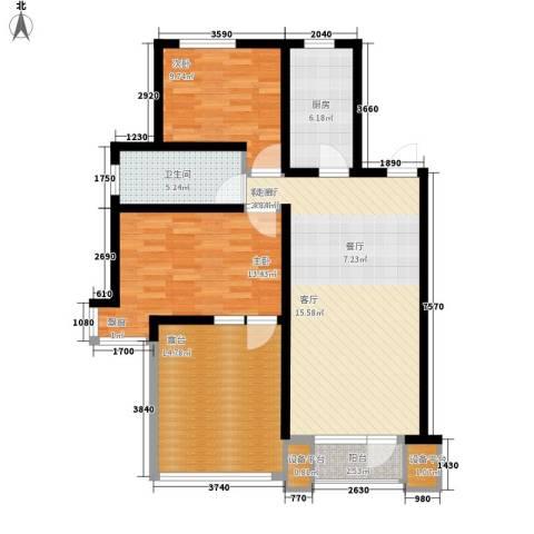 康城・瑞河兰乔2室1厅1卫1厨119.00㎡户型图