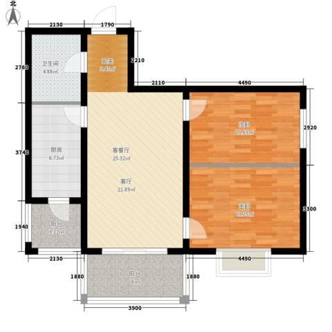 华远水木清华2室1厅1卫1厨71.04㎡户型图