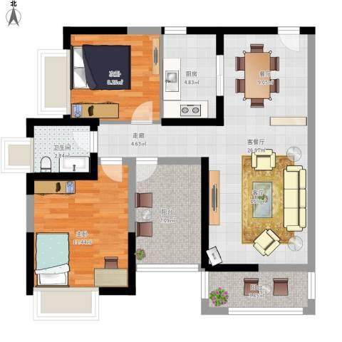 保利未来城市2室1厅1卫1厨95.00㎡户型图