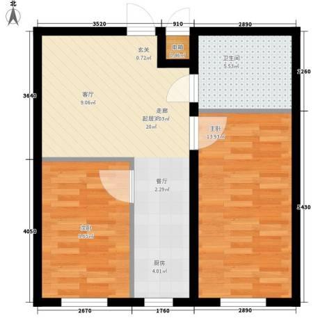 阳光水岸2室0厅1卫0厨64.00㎡户型图
