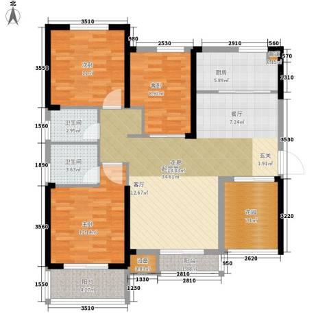 祥瑞东方城3室0厅2卫1厨107.00㎡户型图