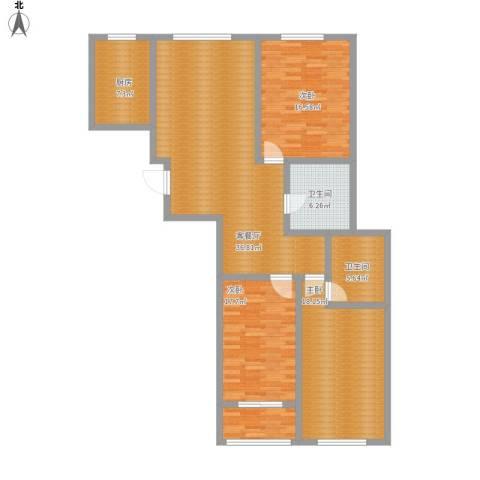 世纪嘉园3室1厅2卫1厨154.00㎡户型图