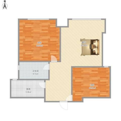 西坝河北里2室1厅1卫1厨85.00㎡户型图
