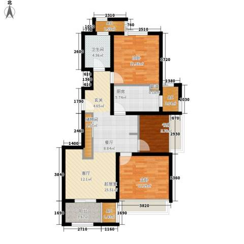 乾耀东港3室0厅1卫1厨88.00㎡户型图