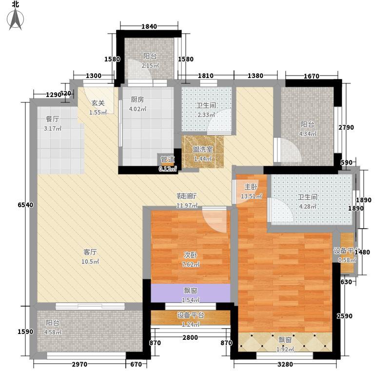 世茂城88.00㎡四期4栋C3标准层户型3室2厅2卫1厨