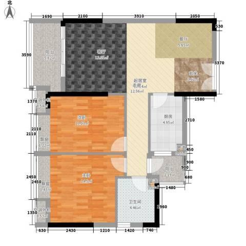 元邦明月水岸2室0厅1卫1厨88.00㎡户型图